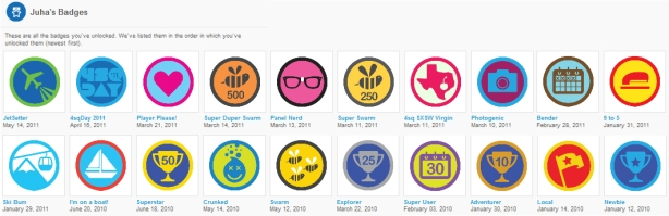 Foursquare Badges Collected by Juha Frey
